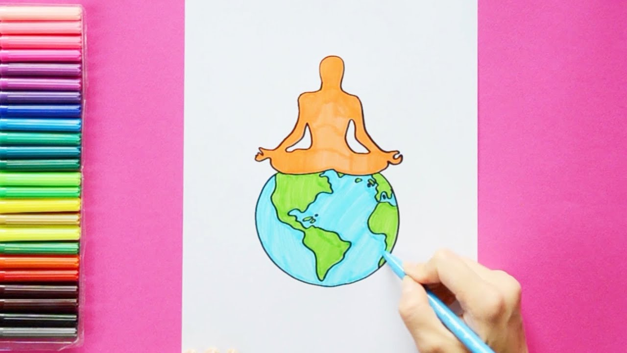 How To Draw International Yoga Day Youtube