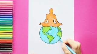 How to draw and color International Yoga Day