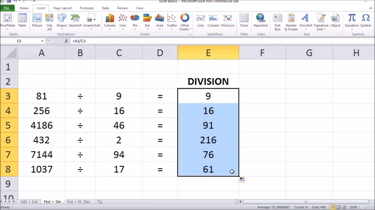 how to divide cells in microsoft excel 2017