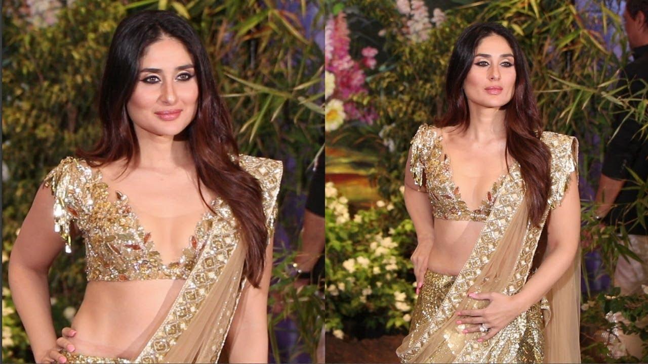 Kareena Kapoor In Golden Saree At  Sonam Kapoor Wedding Reception