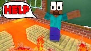 Monster School : FLOOR IS LAVA Challenge  - Minecraft Animation