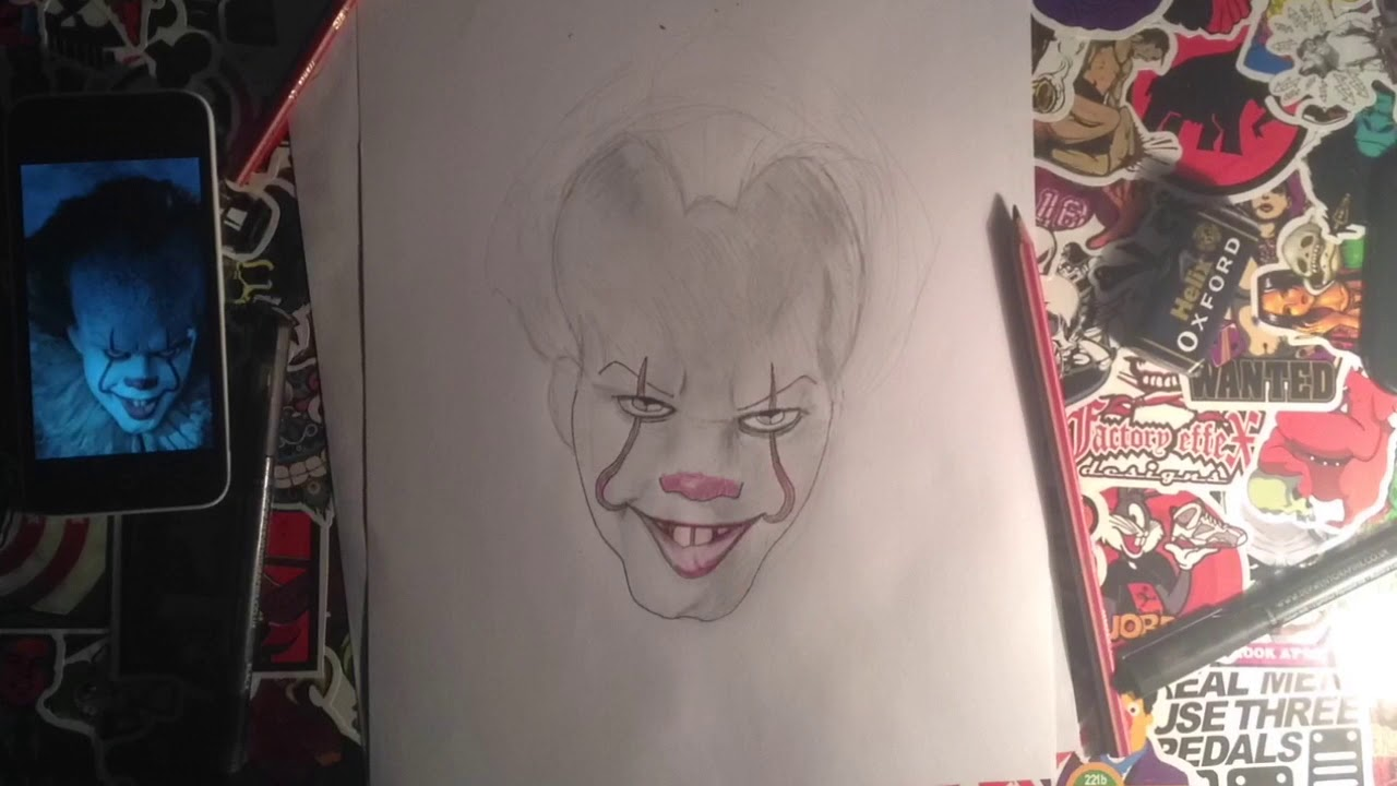 how to draw pennywise the clown it youtube