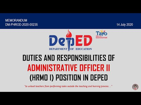 Duties and Responsibilities of Admin. Officer II (HRMO I) Position in DepEd | KRA