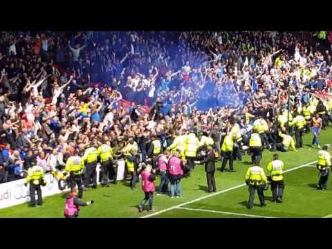 Barrier collapses crushing a few Brum fans, !! Bristol City Vs Birmingham City