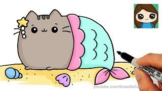 How to Draw a Mermaid Pusheen Easy