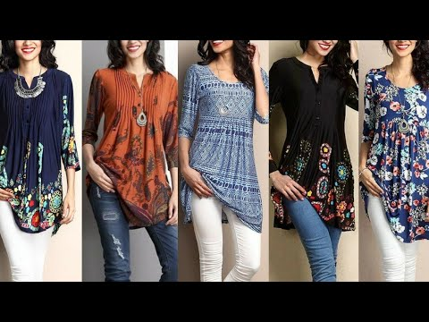 Cotton short Kurta for jeans designs/Kurta ideas for college wear/Kurta with jeans