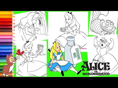 Coloring Disney Alice In Wonderland Queen of Hearts Cheshire Cat - Coloring Pages for kids |