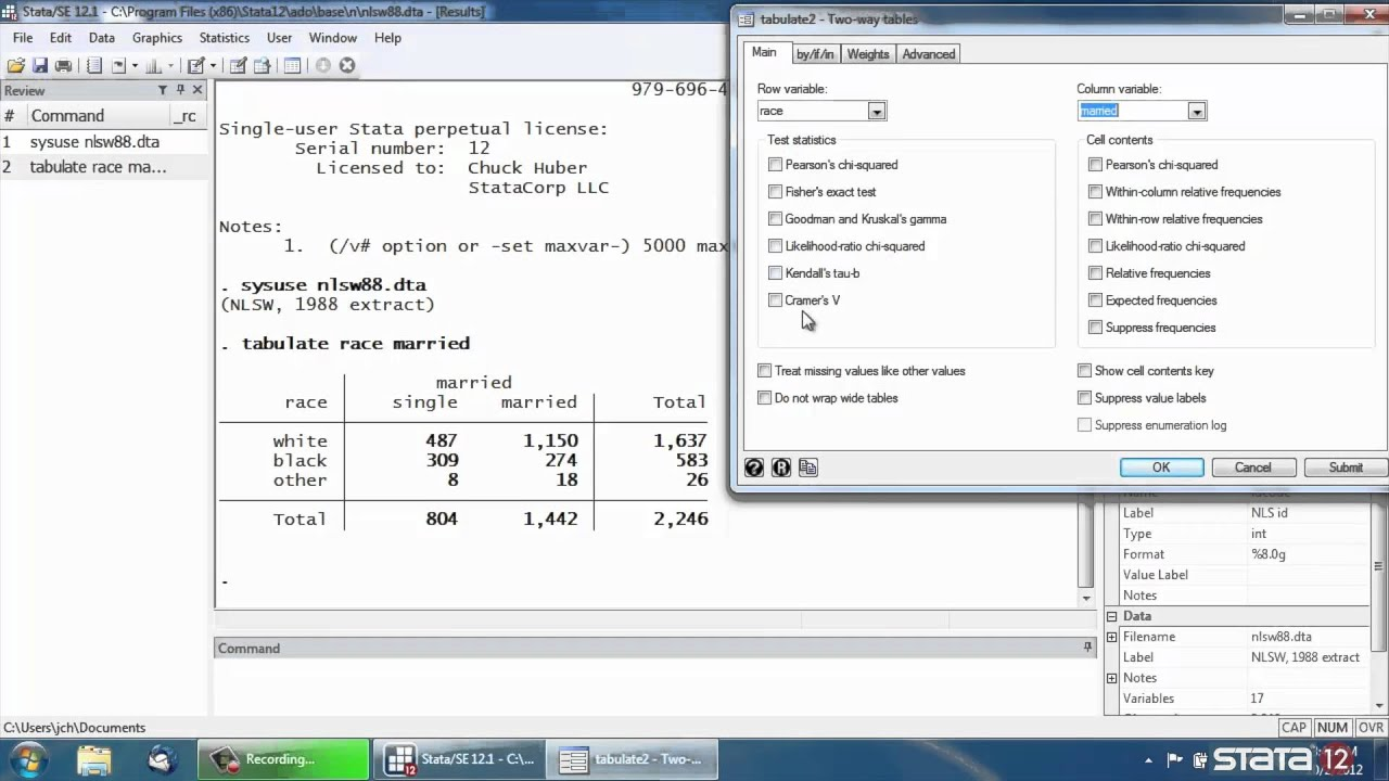 Pearson's chi-squared and Fisher's exact test in Stata® - YouTube