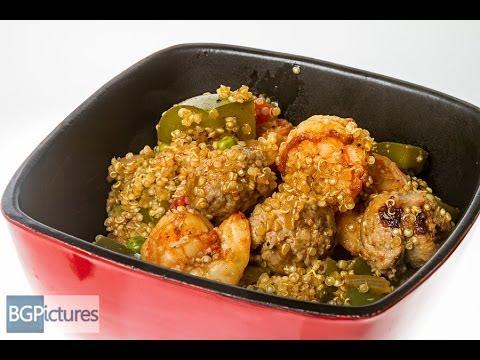 HLO Healthy Eating Recipe Saffron and Smoked Paprika Shrimp and Turkey Sausage Over Quinoa