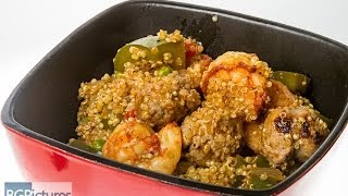 Hlo Healthy Eating Recipe Saffron And Smoked Paprika Shrimp And Turkey Sausage Over Quinoa