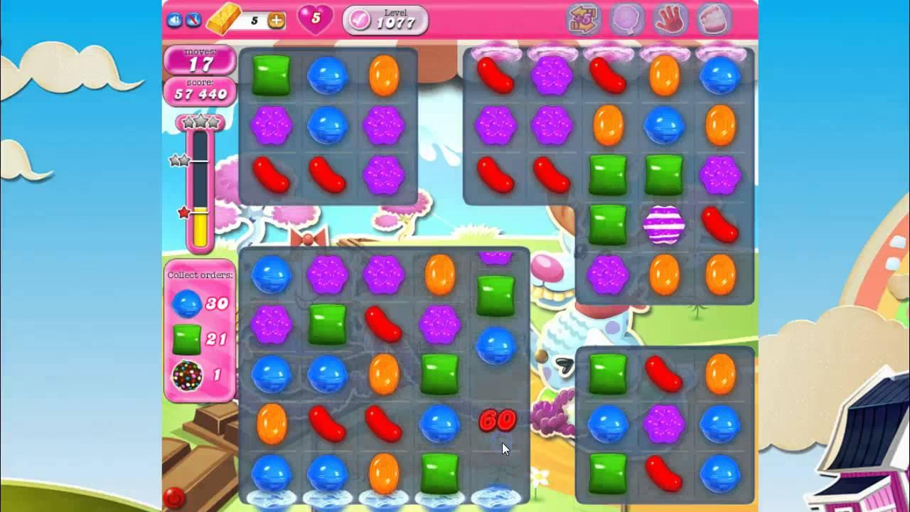 Candy crush saga level 1077 no boosters youtube
