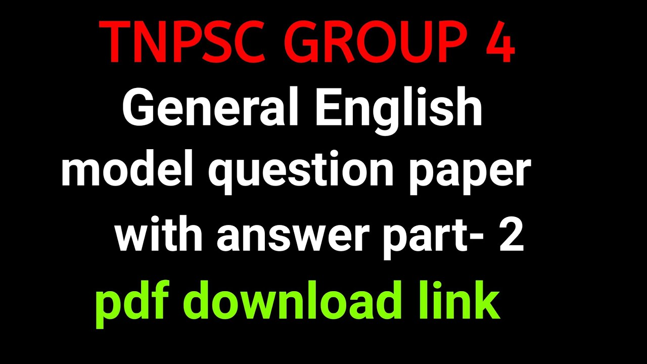 TNPSC GROUP 4 General English question and answer pdf download link