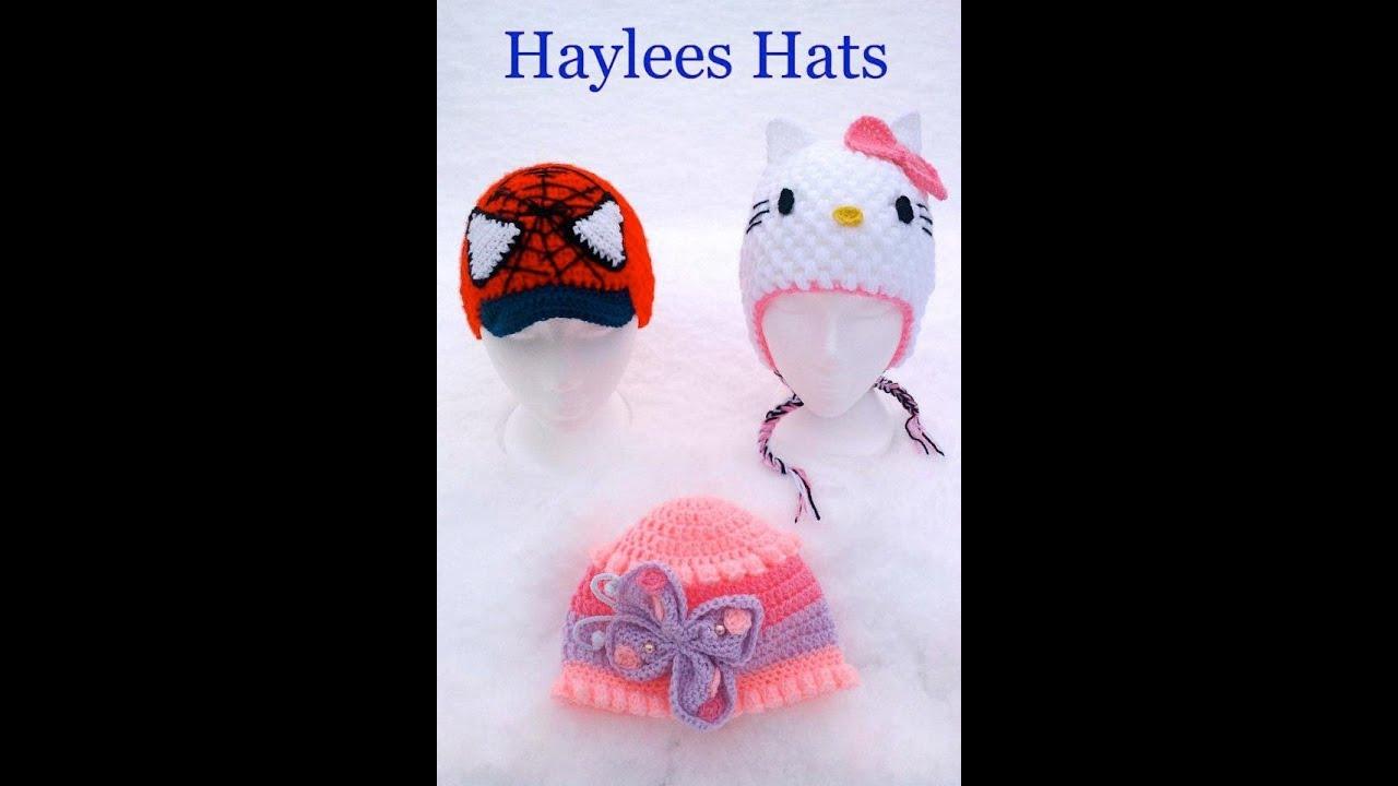 Crochet Butterfly Car Spiderman Peak Hat Puff Stitch Scarf Kitty