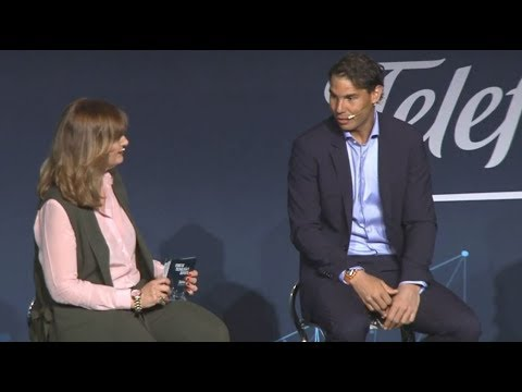 Rafael Nadal at the Telefonica event in Madrid, 4 May 2018