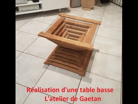 Fabrication d'une table basse en bois et plateau en verre - Wood working