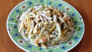 Салат из свинины и солёных огурцов / Salad of pork and pickles