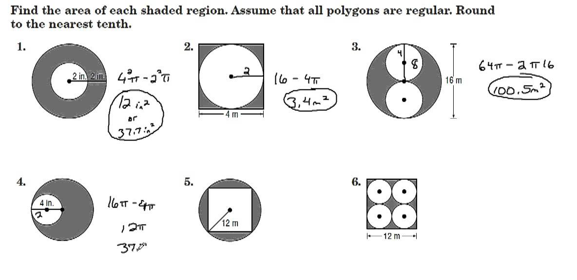 Finding Areas of Shaded Regions between Polygons & Circles