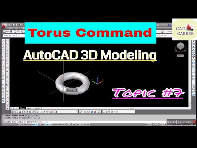AutoCAD 3D Modeling Torus Command || Using Torus command