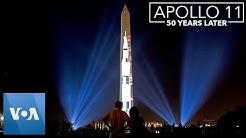Apollo 11 Rocket Projected onto Washington Monument