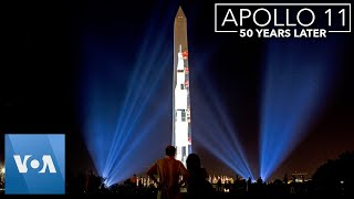 Apollo 11 Rocket Projected onto Washington Monument