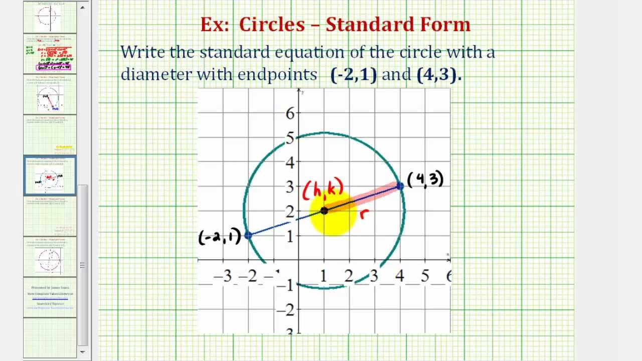 Ex 1: Find Standard Equation of a Circle Given the Endpoints of a ...