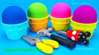 Kinetic Sand Ice Cream with Tools Surprise Eggs Kinder Man Disney Princess Toys Learn Colors Kids
