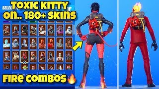 "NEW ""TOXIC KITTY"" BACK BLING Showcased With 180+ SKINS! Fortnite BR (BEST TOXIC KITTY COMBOS)"