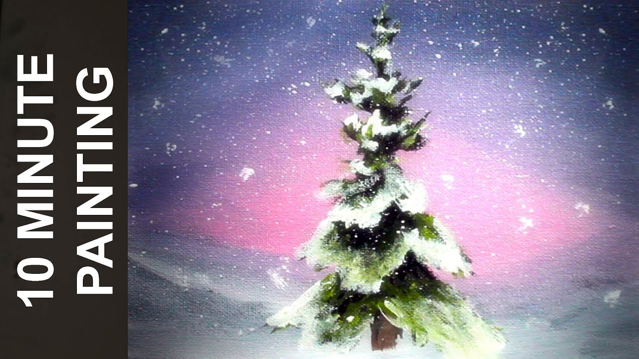 Acrylic Christmas Tree Painting.Painting A Holiday Christmas Tree Scene With Acrylics In 10 Minutes