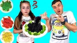 Vania & Masha Cooks and Eats Black Chocolate Noodles and Colorful Noodle