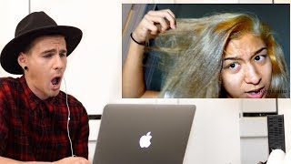 HAIRDRESSER REACTS TO AWFUL DIY HAIR COLOR! | bradmondo