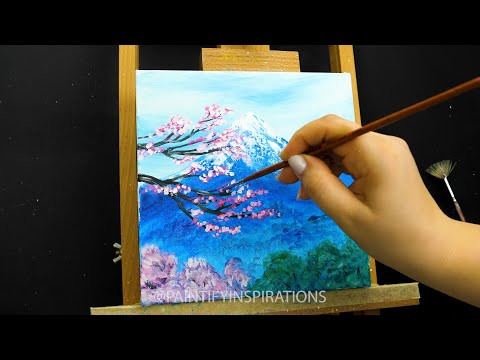 Easy Landscape Acrylic Painting Tutorial Easy | Satisfying ASMR