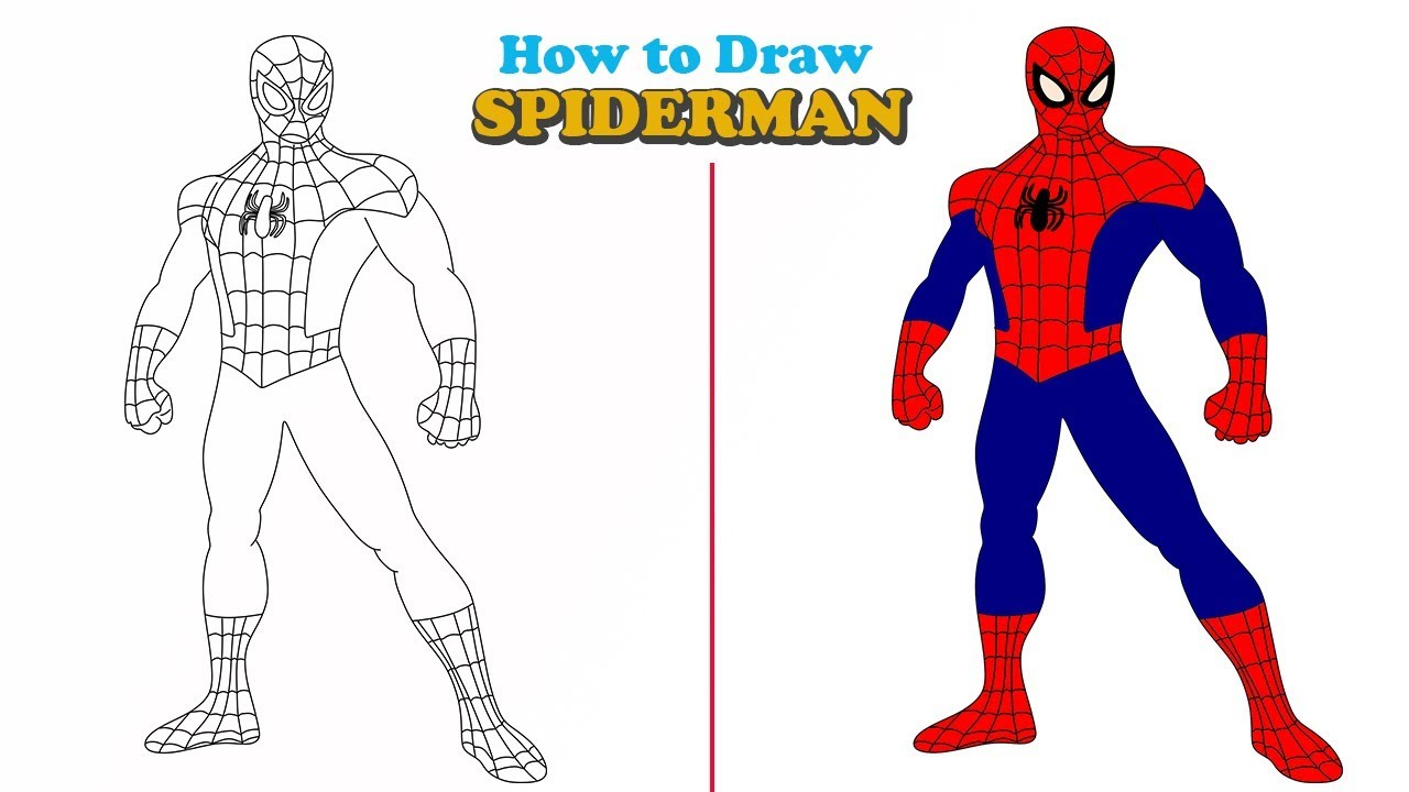 How To Draw A Spiderman Easy Step By Step Jelly Colors Art Youtube