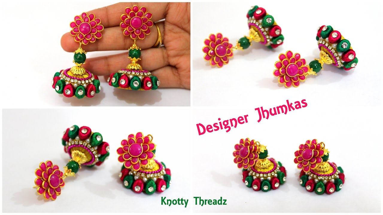 Silk Thread Jewellery | How To Make Designer Silk Thread Jhumkas At Home |  Earrings | Tutorial !!
