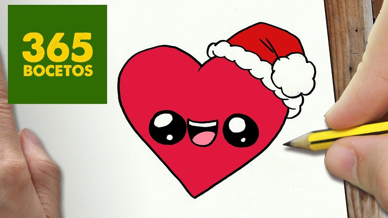 como dibujar un corazon para navidad paso a paso dibujos
