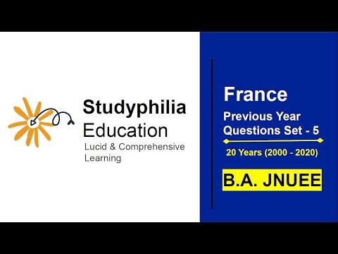 France JNU Previous Years' Questions Set - 5 | JNU BA Entrance Exam 2021