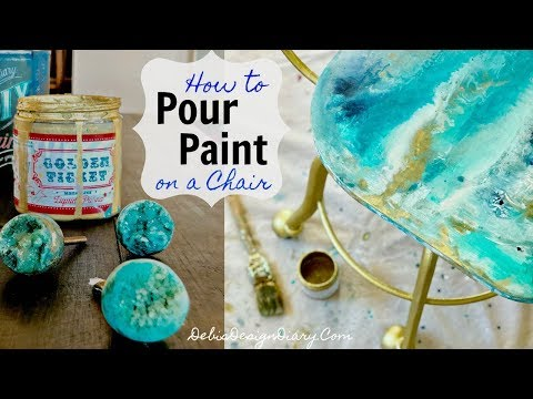 How to Paint Pour onto a chair inspired by Geode knobs from Anthropologie