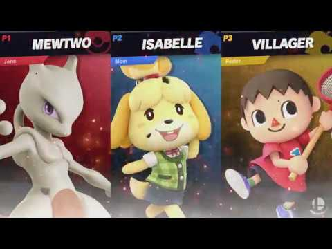 Mewtwo Vs. Isabelle Vs. Villager - Playing With Our Mom | Super Smash Bros. Ultimate