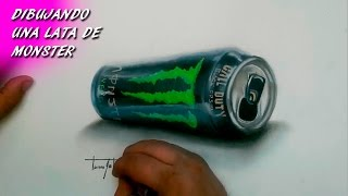 Dibujando Una Lata de Monster   Drawing a can of Monster