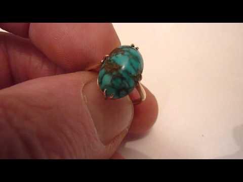 Antique 9 Carat Gold & Natural Matrix Turquoise Dress Ring. Size. K/L