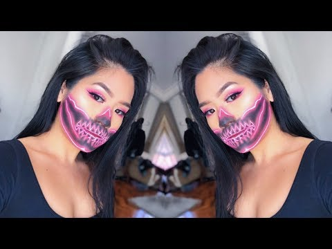 NEON SKULL MAKEUP // trying to recreate james charles' tutorial !!! thumbnail