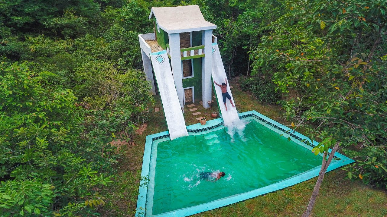 Build Amazing Millionaire Swimming Pool Around Multi Stories Villa