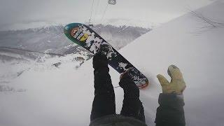 Фрирайд на Розе Хутор на сноуборде и на лыжах.