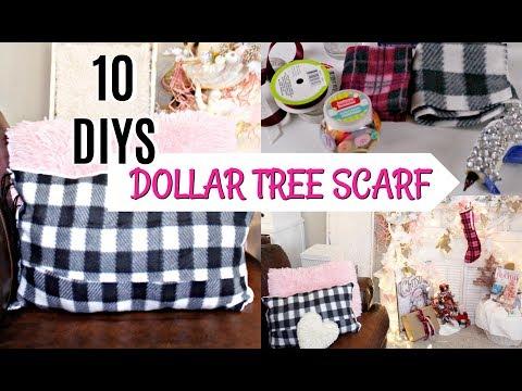 🎀10 DIYS W/ DOLLAR TREE SCARF 🎀NO SEW PILLOW, STOCKING, GARLAND etc...