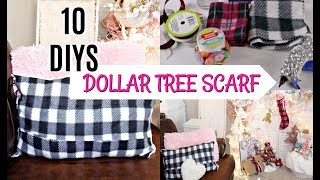 🎀10 DIYS W/ DOLLAR TREE SCARF 🎀NO SEW PILLOW, STOCKING, GARLAND etc...