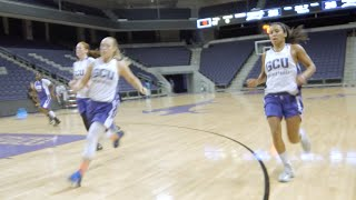 The gcu women's basketball team began practices in preparation for upcoming season. more information, please visit www.gculopes.com.