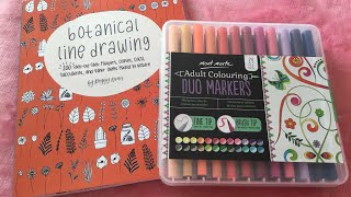Review libro Botanical line drawing y rotuladores pincel Mont Marte Duo Markers para lettering