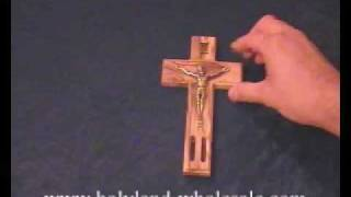 The Holy Land Millennium Olive Wood And Pewter Cross