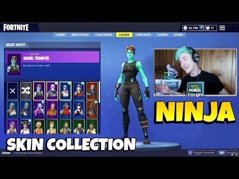 Ninja\'s Skin Collection With All RARE SKINS Ninja Has   Skull Trooper, Christmas Skins & More!