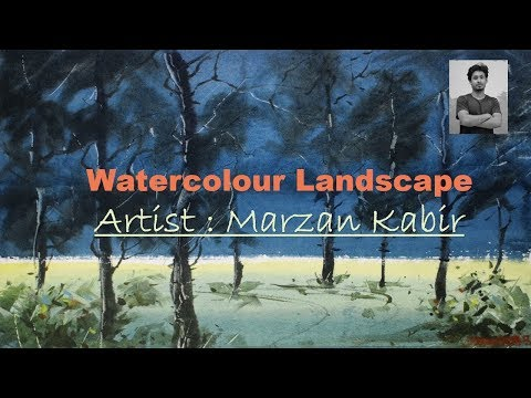 Watercolour  Landscape Demo । Marzan Kabir