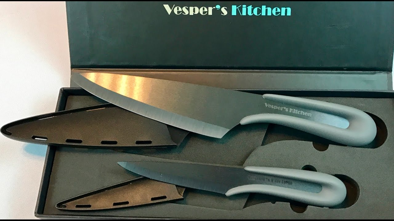 2 Black Ceramic Kitchen Knife Set 6 Chef 4 Paring With Sheaths By Vespers